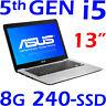 """NEW ASUS Ultrabook CORE i5-5200U 13"""" 8GB 240GB SSD Win8.1 + Windows 10 F/X302LA"""