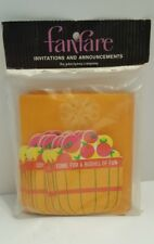 Vtg Fanfare (10) Sealed Come For Bushel Of Fun Party Apples Invitations Kitsch