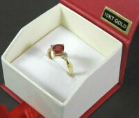 Vintage Garnet Ring Diamonds Solid 10K Yellow Gold Jewelry Cocktail Fine 6.25