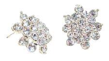 Silver Flower Crystal Diamante Stud Earrings Wedding Women Bridal Fancy Dress UK