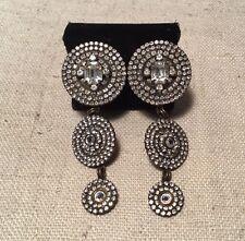Sorrelli Vintage Designer Signed Rhinestone Long Dangle Clip Earrings