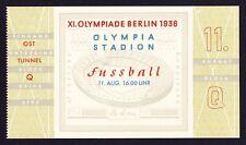 1936 Juegos Olímpicos de Munich fútbol Austria v Polonia Semi 11th agosto * * boleto sin usar