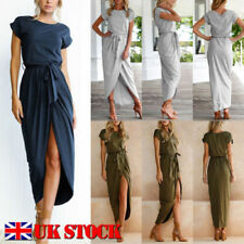 Short Sleeve Long Dresses for Women with Belt