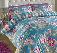 Floral Rose Cotton Rich Reversible Duvet Set Teal Pink Brown Double Kingsize SK