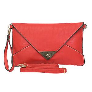 Women's  Faux Leather Envelope shaped Evening Clutch Bag / Wedding Party bag