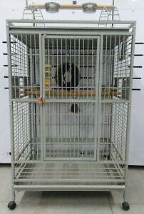 large parrot bird cage gray metal