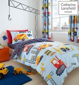 Catherine Lansfield Children's Construction Digger Duvet Cover Bedding Set Blue