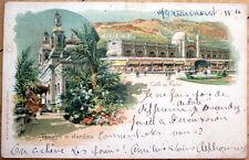 1906 Monte Carlo, Monaco Postcard: Cafe de Paris/Theatre et Jardins- Color Litho