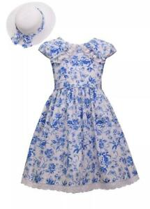 BONNIE JEAN Girl's 10 Blue Floral Dress & Hat Set NWT $68