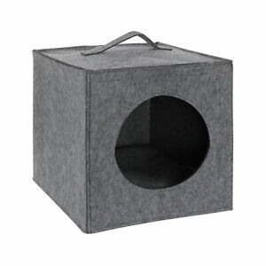 MiMu Cozy Cat Bed Cave - Large Cat Bed Hideouts with Felt Cat Cube Insert Pillow
