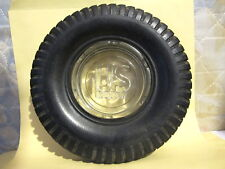 """Vintage Mexican US  ROYAL FLEET MASTER  Tire Ashtray  6.3/4"""" Soft Rubber -GLASS"""