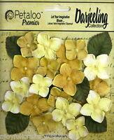 YELLOW 18 HYDRANGEAS Cotton Flowers 25-35mm & 6Leaves 25x30mm Darjeeling Petaloo