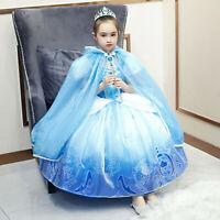 New Cinderella Cosplay Princess Dress Costume Child Halloween Dress Ball Gown