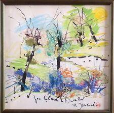 Monique JOURNOD née en 1935.Paysage.Technique mixte.21x21.SBD.Monogrammé.Encadré