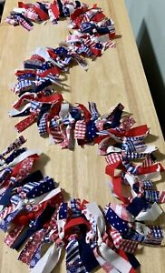 Fourth Of July 5FT Rag garland  Farmhouse Rustic Shabby Chic Patriotic Americana