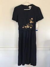 Peri Petites Size 8 Vintage Dress New NWT Old Stock Dark Navy Blue