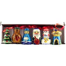 Décoration Sapin de Noël - Figurines en bois Pere Noel, Fille de Neige, Sapin