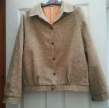 Ladies 100% Wool Bomber Type Jacket Vintage St Michael Size 16 Leather Trim
