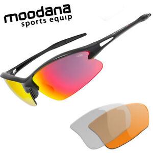 Fahrradbrille Radbrille schmal Sportbrille Wechselscheiben rot klar orange