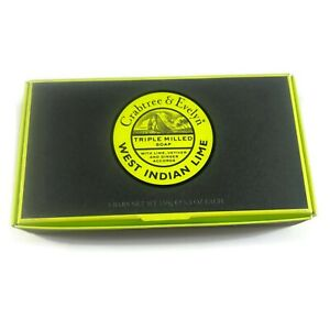 Crabtree & Evelyn West Indian Lime bath triple milled soap bars 3 ct body NEW