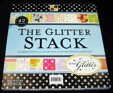 "DCWV The Glitter Stack Paper Pad 42 sheets 12"" x 12"" Glittered Cardstock"