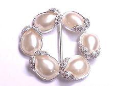 MT46- 54mm Pearl & Crystal Diamante Wedding Topper Brooch Ribbon Slider Buckle