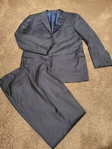 Hickey Freeman Loro Piana Super 150's Tasmanian 44R/38Wx31 Pinstripe Suit Black