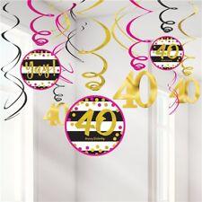 40th Pink & Gold Birthday Room Swirls Decorating Kit Milestone Party Decoration