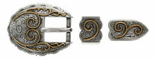 Western Silver/Gold Scalloped Belt Buckle Set 3/4""