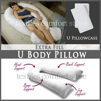 New 12 Ft Comfort U Pillow Pillowcase Full Body Back Support Maternity Pregnancy