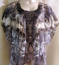 ONE WORLD~ Brown Multi ~ Chiffon Overlay Embellished Sublimation Top~MED~$54.00