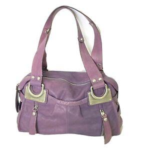 B Makowsky Soft 100% Leather Shoulder Handbag Nickel Hardware Mauve Purple