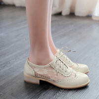 Womens Low Heel Wingtip Lace Up Oxford Retro Vintage Brogues Lace Preppy Shoes