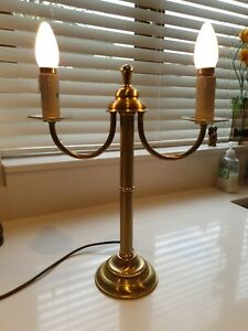 Modern Chrome or Antique Brass Twin Arm Table Lamp Bedside Tested & Working