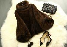 Genuine Knitted Mink Fur Coat Poncho Stole Cape Jacket Ideal Xmas Winter Vintage