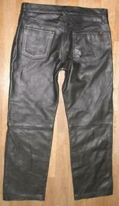 """"""" HARD LEATHER STUFF """" Men's Jeans/Leather Pants IN Black Approx. W35 """" / L30 """""""