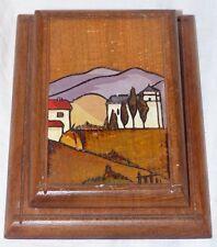 Porte carnet de bureau avec  décor village basque peint sur pyrogravures ancien