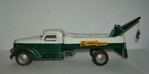 """1940s Pressed Steel Buddy L Towing Service Tow Truck Dark Green & White 25"""" Long"""