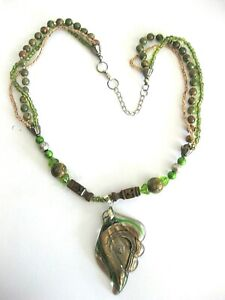 """Art Glass 2 """" Pendant w. Novelty & Crystal Beads Green Gold Brown Necklace 22"""""""