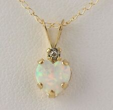 """NEW Synthetic Opal Heart & Diamond Pendant Necklace - 10k Yellow Gold Chain 18"""""""