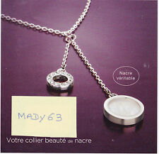 SUPERBE COLLIER 2 ANNEAUX NACRE ET STRASS NEUF