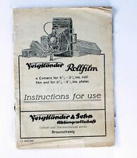 Voigtlaender Original Instruction Manual for 3-1/4x5-1/2 Rollfilm Camera