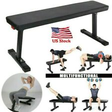Sit Up Bench Flat Weight Bench with Sewn Vinyl Seats Home Workout Fitness Gym US