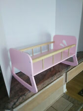 Beautiful Pink Wood Doll Bed/Cradle/Crib Furniture by Line