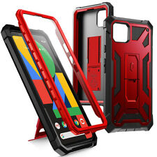 For Google Pixel 4 Case Leather Texture Shockproof Protective w/Stand Metal Red