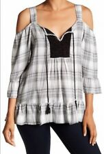 DR2 Daniel Rainn Women's Plus Size 1X Crochet Bib Cold Shoulder Plaid Blouse New