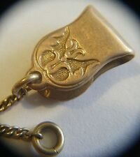 RARE FINE VTG VICTORIAN 10K GOLD FOB CLOTHING CLIP WITH CHAIN BUTTERFLY MOTIF