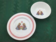 Set Of 2 Signature Child's Plate & Bowl 2 Bears W/A Bushel Heart Shaped Apples