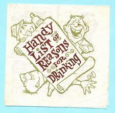 Vintage Fort Howard Napkin - many jokes - very rare - reasons for drinking (651)