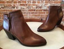 Frye & Co Cognac Brown Leather Cody Zip Mid Heel Bootie Ankle Boots 7.5 New